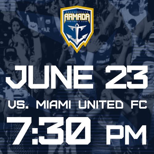 Jacksonville Armada vs Miami United FC June 23rd poster