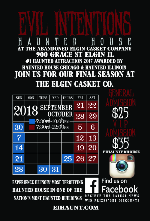 Evil Intentions Haunted House 2018 Haunt Season poster