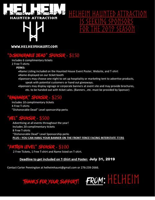 Helheim Haunted Attraction 2019 Sponsorship (new) poster