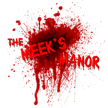 The meeks manor logo with blood white background