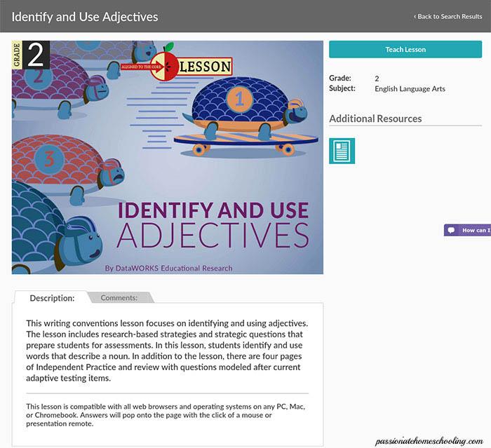 Language arts lesson on adjectives