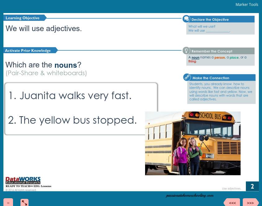 Grade 2 adjectives lesson screen.
