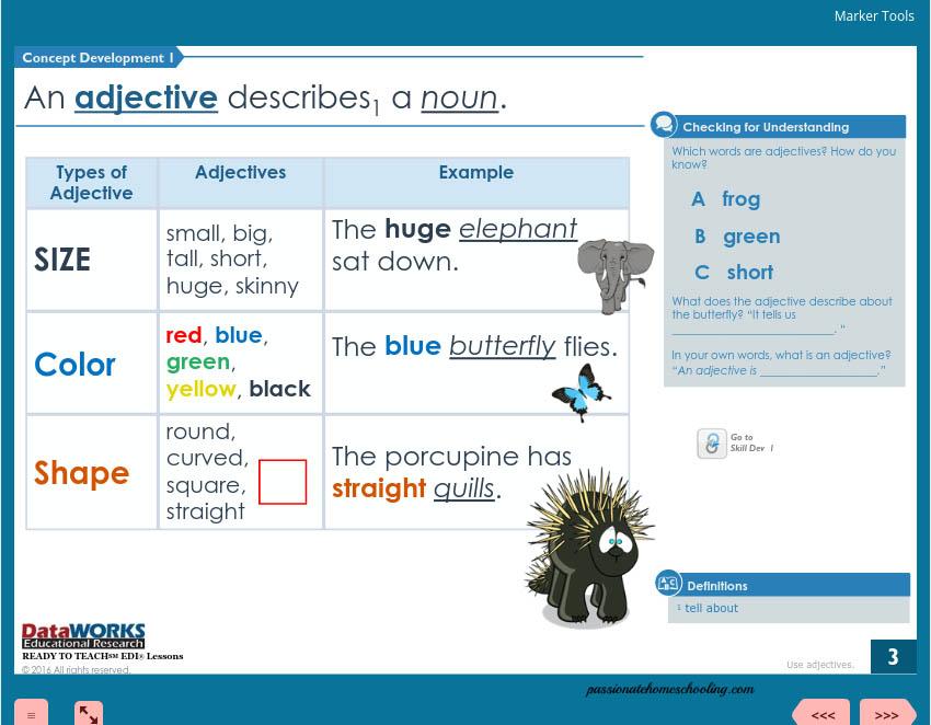Adjectives Lesson detail menu