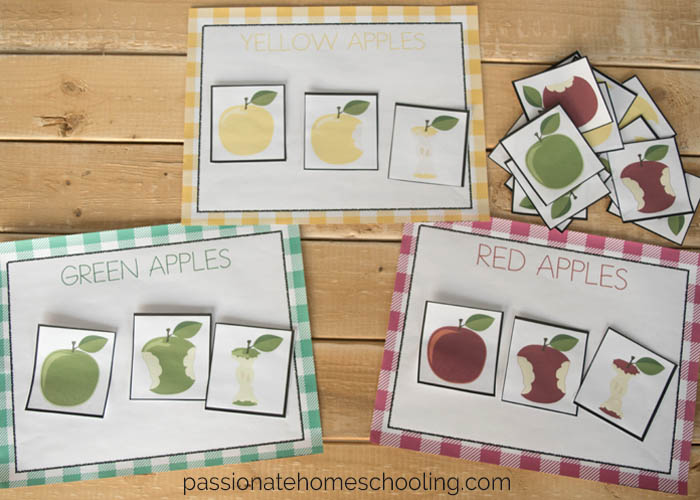3 Free Apple Color Sorting Printables