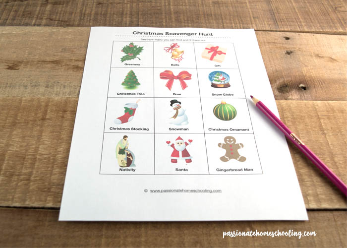Christmas scavenger hunt for kids free printable