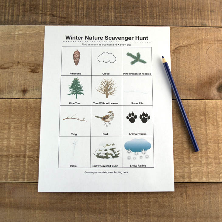 Free printable winter scavenger hunt