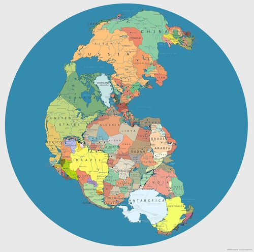Pangea (300 million years ago) and the modern map