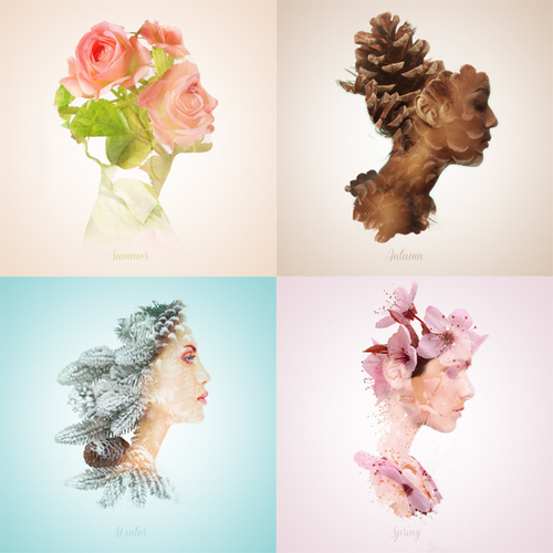 Double exposures in portraits representing seasons