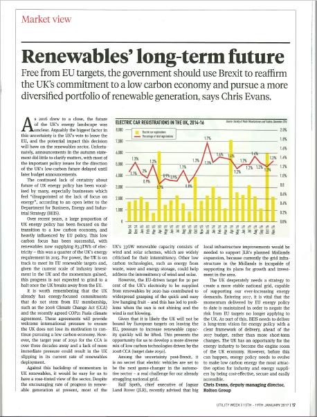Renewables' long-term future
