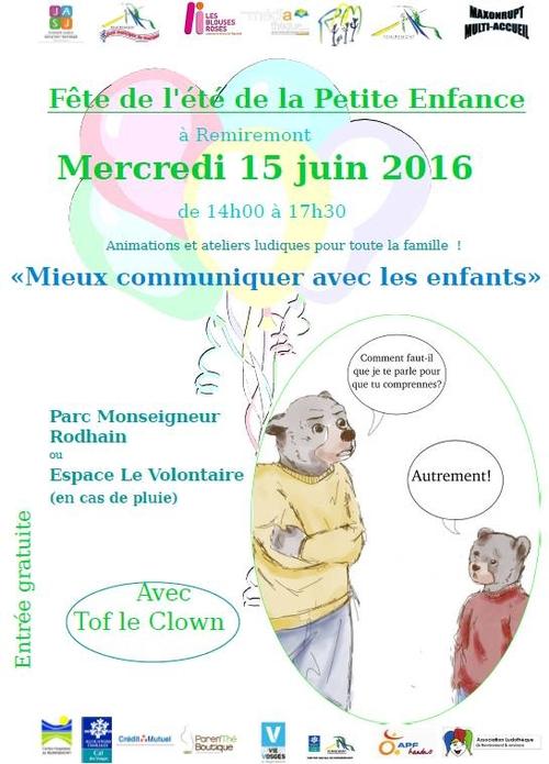 Remiremont – Fête de l'été de la petite enfance mercredi 15 juin 2016