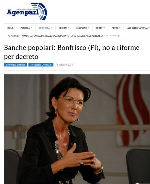Sen Anna Cinzia Bonfrisco Banche Cooperative Popolari No Riforme Per Decreto