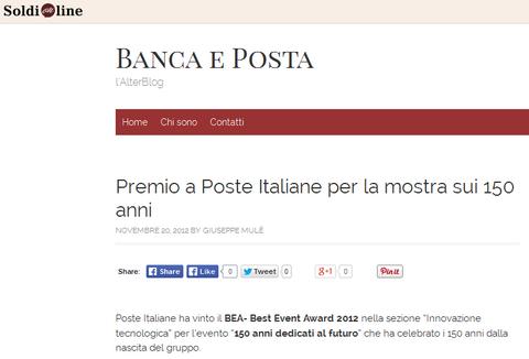 Giorgetti Poste Italiane, BEA- Best Event Award 2012
