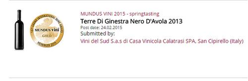 Miccichè Mundus Vini 2015 Medaglia d'Oro al Terre di Ginestra Nero d'Avola 2013