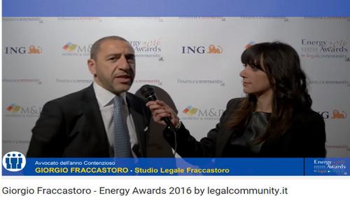 Giorgio Fraccastoro intervistato durante gli Energy Awards 2016 by legalcommunity.it
