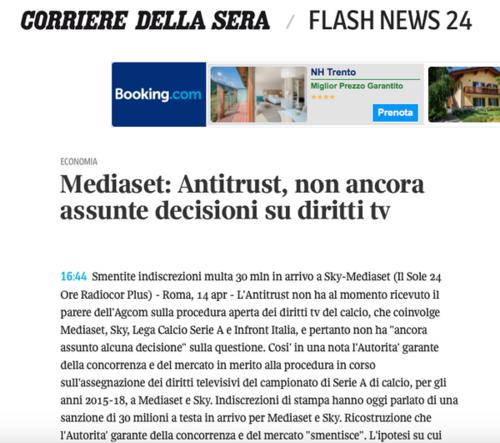 Infront Italia: Antitrust, nessuna decisione su diritti tv