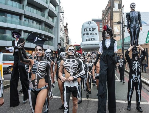 TransferWise stages Halloween march