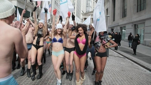TransferWise founders brave New York cold for naked