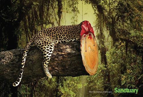 Decapitating deforestation - shocking print ads