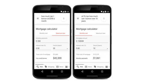 Google now has a built-in mortgage calculator