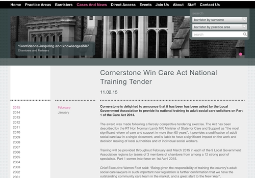 Cornerstone Barristers provide national training on Part 1 of the Care Act 2014