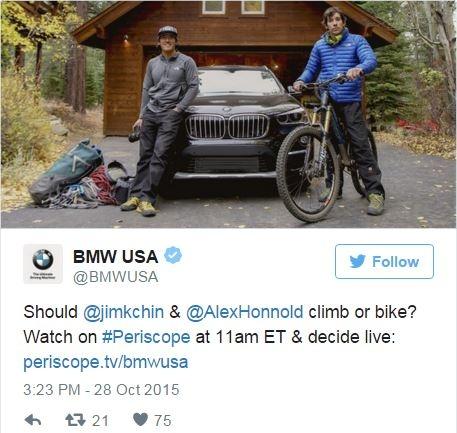 BMW propose un road trip participatif à ses fans sur Periscope