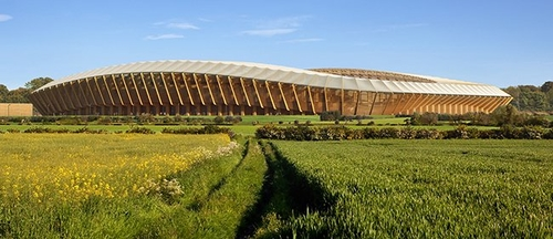 Green Stadium made entirely of wood, for suitably named Forest Green Rovers FC