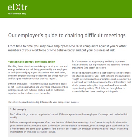 Our employer's guide to chairing difficult meetings