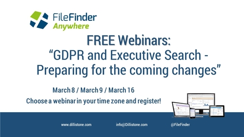 "Additional Webinar Dates: ""GDPR And Executive Search – Preparing For The Coming Changes"""