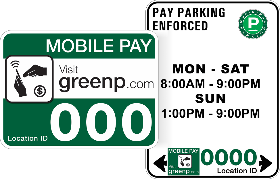 Example parking signs. Green commuter parking sign to the left of a red commercial loading zone sign. The Zone number is located at the bottom of each sign.
