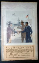 "Image of 1919 Calendar ""Loyal and True"" - 1919 calendar showing Black soldiers returning victoriously from WWI shaking hands with Uncle Sam. Cover page for calendar reads ""Greetings. May good fortune be with you throughout the ensuing year."""