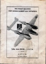 """Image of 99th Pursuit Squadron First Annual Banquet - Program dedicated to the """"brave, determined members of the 99th Air Squadron, who stood the acid test while all the world looked on, and downed eight of the enemy planes manned by Germany's 'supermen' forcing the rest of the opposing forces to flee."""""""