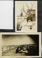 Image of Collection of historic photographs - Two photos; one with three women on pier, the other of a seated woman outdoors