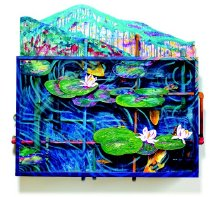 Image of A Day in the Park #4 - Decorative shadow box-like wall sculpture. The inside of this painted wood box is decorated with suspended fish-like elements and water pipes. The front of the box is covered with Plexiglas, the surface of which is decorated with lily pad elements, both in front and behind, as well as decorative surface painting in greenish swirls. The top surface of the box decorated with two upright elements painted with colorful acrylic washes, primarily in green with red, purple, orange and blue accents.