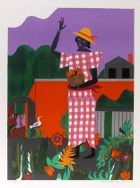Image of In the Garden - Print of woman in gingham dress and sun hat tending to her garden.  House and hills in background.