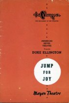 """Image of The Playgoer, """"Jump For Joy"""" magazine - Twenty-four page (12 leaves) pamphlet for Duke Ellington's """"Jump For Joy"""" performance at the Mayan Theatre in Los Angeles with Dorothy Dandridge, Ivy Anderson and Herb Jeffries."""