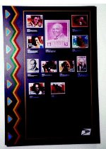 """Image of African-American Legends and Leaders Commemorated on Postage Stamps - Postal stamp display of famous African-Americans through """"Black Heritage"""" Stamp series; from 1978 through 1993."""