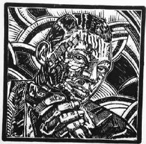 "Image of Little Walter - Linoleum cut portraying influential blues musician Marion ""Little Walter"" Jacobs (1930-1968) with harmonica."
