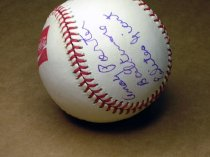 Image of Baseball signed by old Negro League players: Andy Porter (Baltimore Elite Giants) , Sammy Haynes (Kansas City Monarchs) and Lonnie Summers.