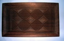 Image of Wood tray - Rectangular light wood tray carved with designs.