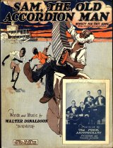 "Image of ""Sam, The Old Accordion Man"" (Novelty Fox Trot Song) - Sheet music written by Walter Donaldson; drawing of elderly African American male seated on a bale of cotton playing the accordion, three children dance to the tune and a river steamboat is seen in the background; photo of The Four Aristocrats featured in bottom right corner."