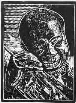"""Image of Satchmo - Linoleum cut portraying Louis """"Satchmo"""" Armstrong (1901 - 1971) with his trumpet. Louis Armstrong, more than anyone, else was responsible for legitimizing and popularizing jazz for a wide audience."""