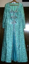 Image of Floor-length turquoise beaded silver lame stage gown
