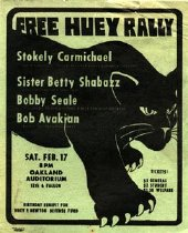Image of Green flyer announcing a birthday benefit for the Huey P. Newton Defense Fund on Saturday, February 17, 1968 at the Oakland Auditorium. $3 General Admission, $2 Student, $1.50 Welfare. Featuring Stokely Carmichael, Sister Betty Shabazz, Bobby Seale and Bob Avakian.