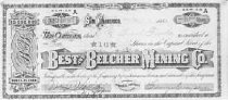 Image of Best and Belcher Mining Co. [stock certificate] - stock certificate December 18, 1883, No. 24987 Shares 10