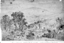 Image of Escutney Mountain/Landscape, River and Mountain - framed pencil drawing