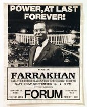 Image of Power, At Last Forever! - Poster of Minister Farrakhan shown with the Forum of Inglewood in the background; text above and below the image.