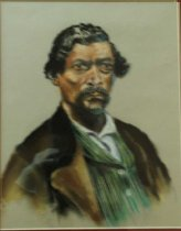 Image of James Beckwourth (Beckwirth) - Portrait drawing of African American trader, explorer and mountaineer, James Beckwourth  He discovered lowerst pass through the Sierra Nevada Mountains, later known as Beckwourth Pass.