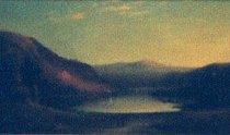 Image of Italian Lake - Painting of an italian landscape and lake with two small figures in foreground. Two sailboats are pictured in the background.