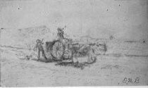 Image of Oxen, Cart and Two figures - framed pencil drawing