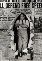 """Image of Paul Robeson - Paul Robeson walking forward with his right fist and right foot bursting through """"cover"""" of the California Eagle newspaper front page."""